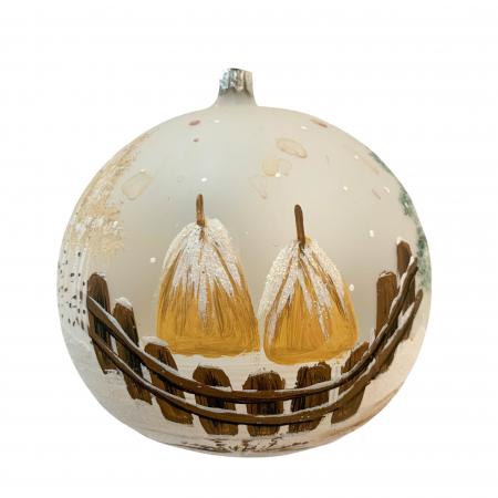 Glob din sticla suflata si pictata manual, Argcoms, Fabrica lui Mos Craciun, Asezare rustica, Multicolor, Fond alb, 120 mm, Sferic1