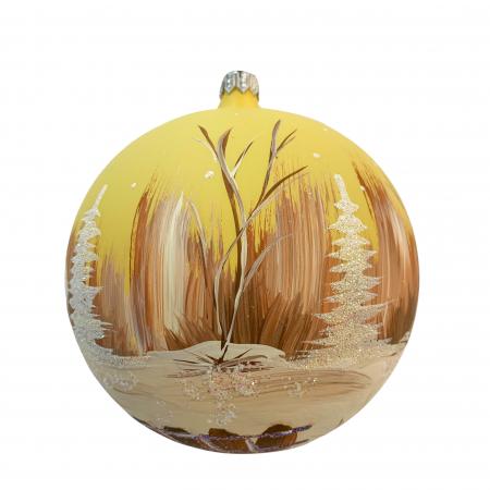 Glob din sticla suflata si pictata manual, Argcoms, Fabrica lui Mos Craciun, Cabana (1), Multicolor, Fond galben, 120 mm, Sferic1