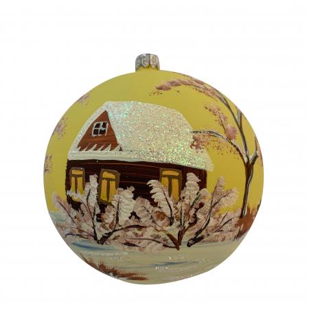 Glob din sticla suflata si pictata manual, Argcoms, Fabrica lui Mos Craciun, Cabana (2), Multicolor, Fond galben, 120 mm, Sferic1