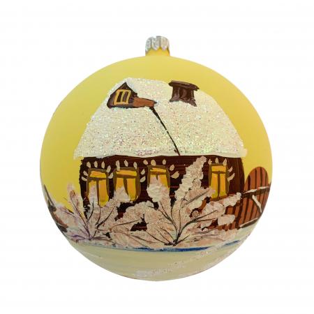Glob din sticla suflata si pictata manual, Argcoms, Fabrica lui Mos Craciun, Cabana (2), Multicolor, Fond galben, 120 mm, Sferic0