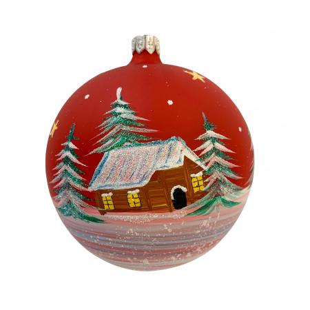 Glob din sticla suflata si pictata manual, Argcoms, Fabrica lui Mos Craciun, Casa padurarului, Multicolor, Fond rosu, 100 mm, Sferic0