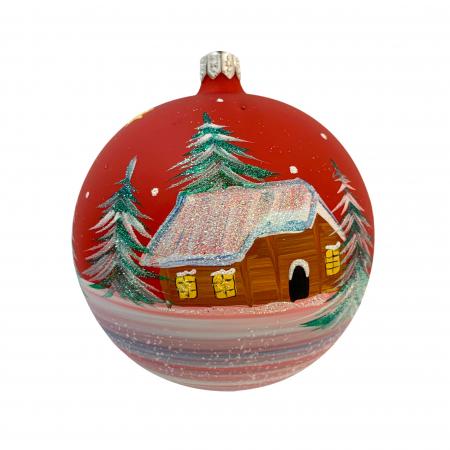 Glob din sticla suflata si pictata manual, Argcoms, Fabrica lui Mos Craciun, Casa padurarului, Multicolor, Fond rosu, 100 mm, Sferic2