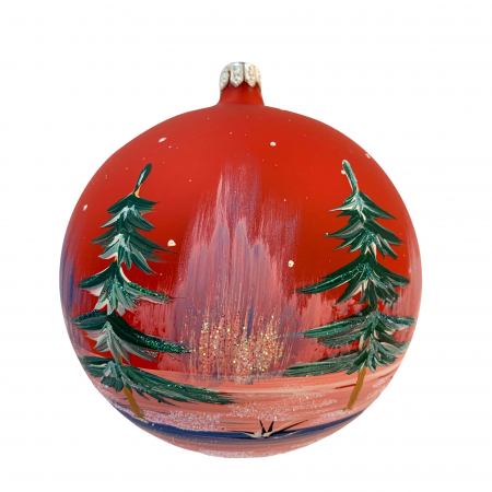 Glob din sticla suflata si pictata manual, Argcoms, Fabrica lui Mos Craciun, Casa spiridusului, Multicolor, Fond rosu, 120 mm, Sferic1