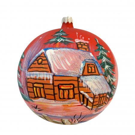 Glob din sticla suflata si pictata manual, Argcoms, Fabrica lui Mos Craciun, Casa spiridusului, Multicolor, Fond rosu, 120 mm, Sferic0