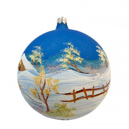 Glob din sticla suflata si pictata manual, Argcoms, Fabrica lui Mos Craciun, Iarna pe ulita, Multicolor, Fond albastru, 120 mm, Sferic1