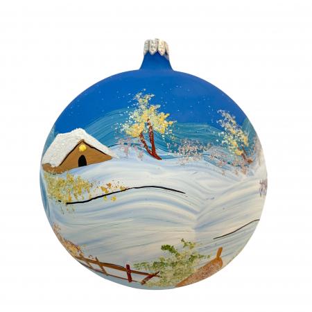 Glob din sticla suflata si pictata manual, Argcoms, Fabrica lui Mos Craciun, Iarna pe ulita, Multicolor, Fond albastru, 120 mm, Sferic0
