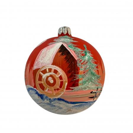 Glob din sticla suflata si pictata manual, Argcoms, Fabrica lui Mos Craciun, Moara pe apa, Multicolor, 80 mm, Sferic0