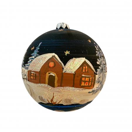 Glob din sticla suflata si pictata manual, Argcoms, Fabrica lui Mos Craciun, Noaptea la cabana, Multicolor, Fond negru, 100 mm, Sferic0