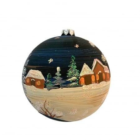 Glob din sticla suflata si pictata manual, Argcoms, Fabrica lui Mos Craciun, Noaptea la cabana, Multicolor, Fond negru, 100 mm, Sferic2