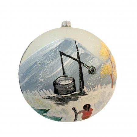 Glob din sticla suflata si pictata manual, Argcoms, Fabrica lui Mos Craciun, Peisaj cu fantana, Multicolor, Fond alb, 120 mm, Sferic2