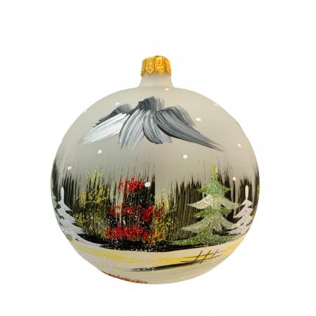 Glob din sticla suflata si pictata manual, Argcoms, Fabrica lui Mos Craciun, Peisaj de iarna, Multicolor, Fond gri, 100 mm, Sferic1