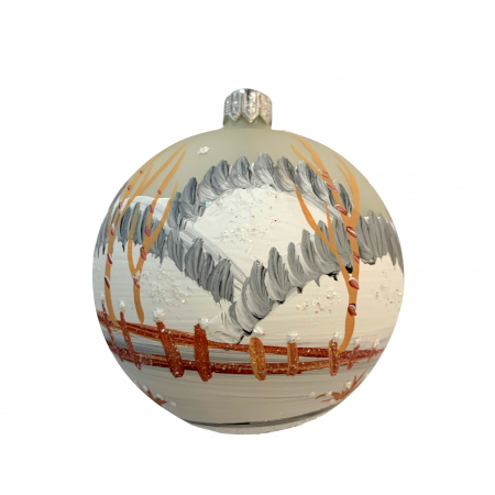 Glob din sticla suflata si pictata manual, Argcoms, Fabrica lui Mos Craciun, Peisaj de iarna, Multicolor, Fond gri, 80 mm, Sferic1