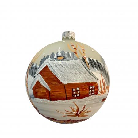 Glob din sticla suflata si pictata manual, Argcoms, Fabrica lui Mos Craciun, Peisaj de iarna, Multicolor, Fond gri, 80 mm, Sferic0