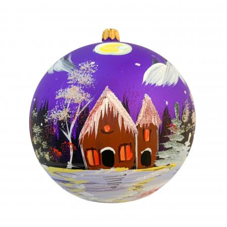 Glob din sticla suflata si pictata manual, Argcoms, Fabrica lui Mos Craciun, Peisaj montan, Multicolor, Fond mov, 120 mm, Sferic0