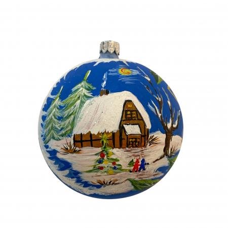 Glob din sticla suflata si pictata manual, Argcoms, Fabrica lui Mos Craciun, Personalizabil, Casa bunicilor, Multicolor, Fond albastru, 100 mm, Sferic0