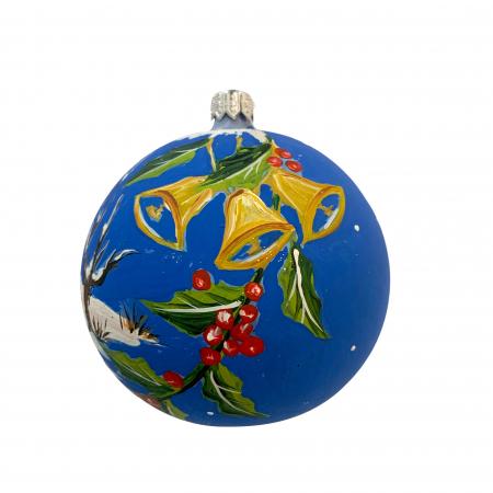 Glob din sticla suflata si pictata manual, Argcoms, Fabrica lui Mos Craciun, Personalizabil, Casa bunicilor, Multicolor, Fond albastru, 100 mm, Sferic1