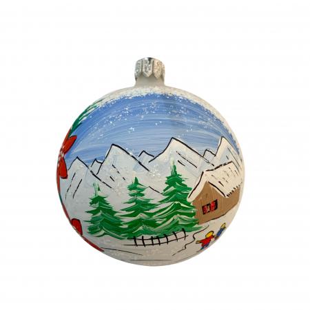 Glob din sticla suflata si pictata manual, Argcoms, Fabrica lui Mos Craciun, Personalizabil, Creste de munte, Multicolor, Fond alb, 80 mm, Sferic0