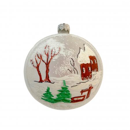 Glob din sticla suflata si pictata manual, Argcoms, Fabrica lui Mos Craciun, Personalizabil, Peisaj de iarna (1), Multicolor, Fond alb, 80 mm, Sferic0