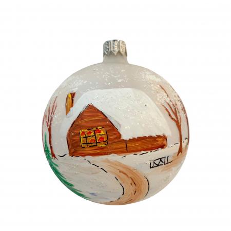 Glob din sticla suflata si pictata manual, Argcoms, Fabrica lui Mos Craciun, Personalizabil, Peisaj de iarna (2), Multicolor, Fond alb, 80 mm, Sferic0
