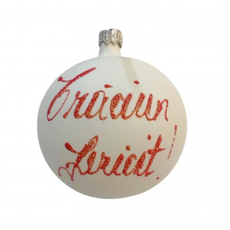 Glob din sticla suflata si pictata manual, Argcoms, Fabrica lui Mos Craciun, Personalizabil, Pom de Craciun, Multicolor, Fond alb, 80 mm, Sferic1