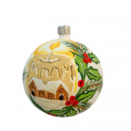 Glob din sticla suflata si pictata manual, Argcoms, Fabrica lui Mos Craciun, Personalizabil, Simfonia iernii, Multicolor, Fond alb, 80 mm, Sferic0