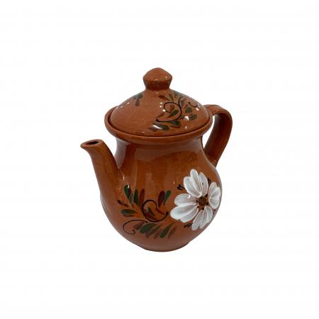 Ibric din ceramica de Arges realizat manual, Argcoms, Cafea, Pictura florala1