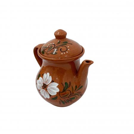 Ibric din ceramica de Arges realizat manual, Argcoms, Cafea, Pictura florala2