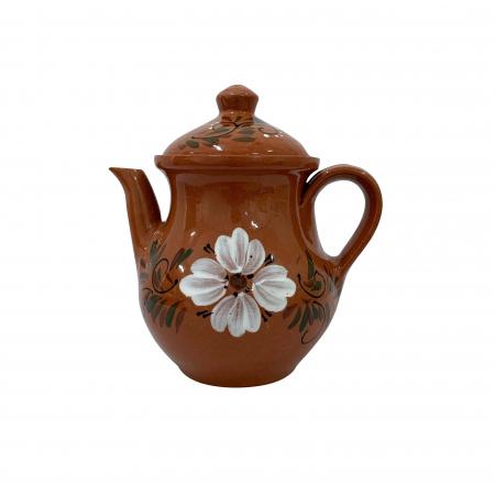Ibric din ceramica de Arges realizat manual, Argcoms, Cafea, Pictura florala0