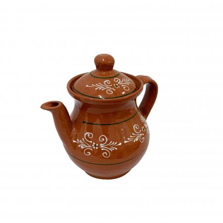 Ibric din ceramica de Arges realizat manual, Argcoms, Cafea, Pictura traditionala1