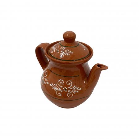 Ibric din ceramica de Arges realizat manual, Argcoms, Cafea, Pictura traditionala2