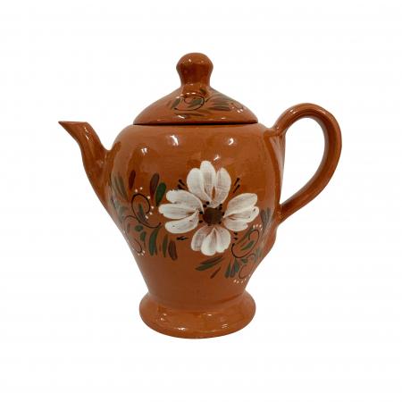Ibric din ceramica de Arges realizat manual, Argcoms, Ceai, Pictura florala