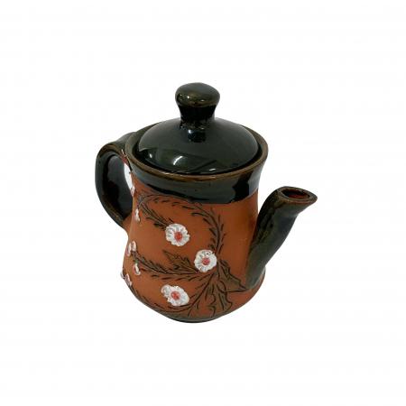 Ibric din ceramica de Arges realizat manual, Argcoms, Tuica, Pictura cu flori de maces2