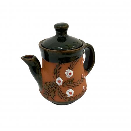 Ibric din ceramica de Arges realizat manual, Argcoms, Tuica, Pictura cu flori de maces1