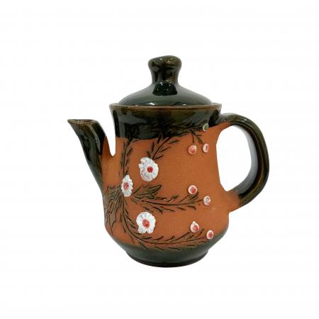 Ibric din ceramica de Arges realizat manual, Argcoms, Tuica, Pictura cu flori de maces