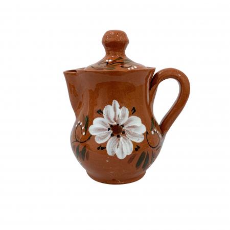 Ibric din ceramica de Arges realizat manual, Argcoms, Tuica, Pictura florala0