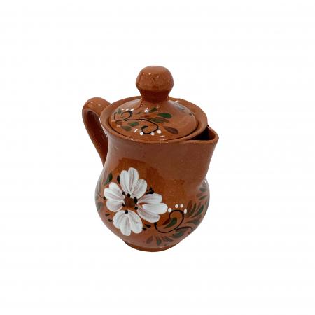 Ibric din ceramica de Arges realizat manual, Argcoms, Tuica, Pictura florala2