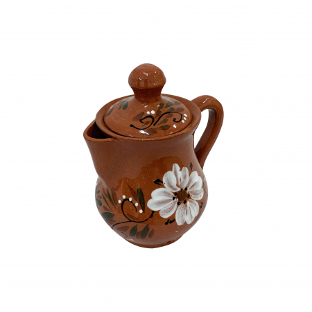 Ibric din ceramica de Arges realizat manual, Argcoms, Tuica, Pictura florala1