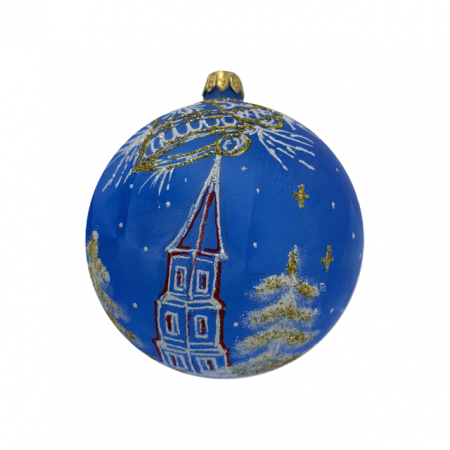 Glob din sticla suflata si pictata manual, Argcoms, Fabrica lui Mos Craciun, Personalizabil, Flori de gheata, Turn, Multicolor, Fond albastru, 100 mm, Sferic0