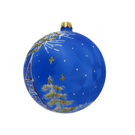 Glob din sticla suflata si pictata manual, Argcoms, Fabrica lui Mos Craciun, Personalizabil, Flori de gheata, Turn, Multicolor, Fond albastru, 100 mm, Sferic3