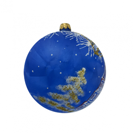 Glob din sticla suflata si pictata manual, Argcoms, Fabrica lui Mos Craciun, Personalizabil, Flori de gheata, Turn, Multicolor, Fond albastru, 100 mm, Sferic1