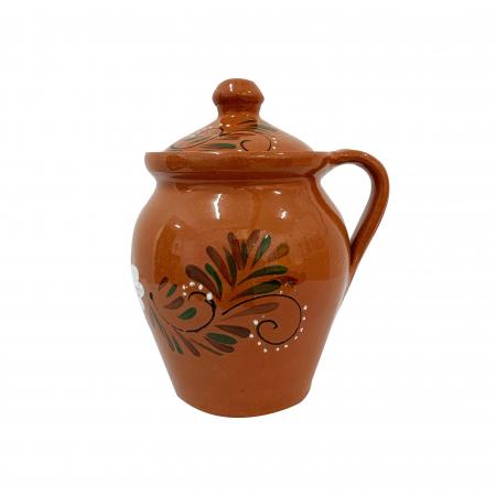 Oala din ceramica de Arges realizata manual, Argcoms, Lapte, Cu capac, Cu 1 toarta, Pictura florala0