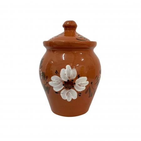 Oala din ceramica de Arges realizata manual, Argcoms, Lapte, Cu capac, Cu 1 toarta, Pictura florala2