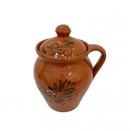 Oala din ceramica de Arges realizata manual, Argcoms, Lapte, Cu capac, Cu 1 toarta, Pictura florala1