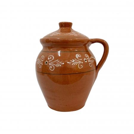 Oala din ceramica de Arges realizata manual, Argcoms, Lapte, Cu capac, Cu 1 toarta, Pictura traditionala0