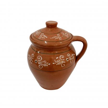 Oala din ceramica de Arges realizata manual, Argcoms, Lapte, Cu capac, Cu 1 toarta, Pictura traditionala1