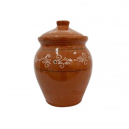 Oala din ceramica de Arges realizata manual, Argcoms, Lapte, Cu capac, Cu 1 toarta, Pictura traditionala2
