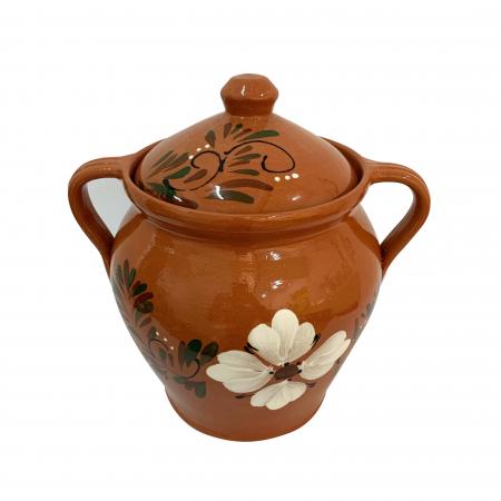 Oala din ceramica de Arges realizata manual, Argcoms, Lapte, Cu capac, Cu 2 toarte, Pictura florala1
