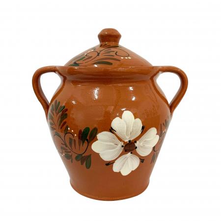 Oala din ceramica de Arges realizata manual, Argcoms, Lapte, Cu capac, Cu 2 toarte, Pictura florala0