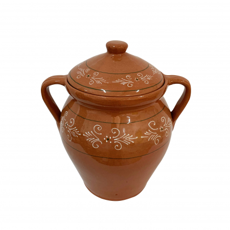 Oala din ceramica de Arges realizata manual, Argcoms, Lapte, Cu capac, Cu 2 toarte, Pictura traditionala1