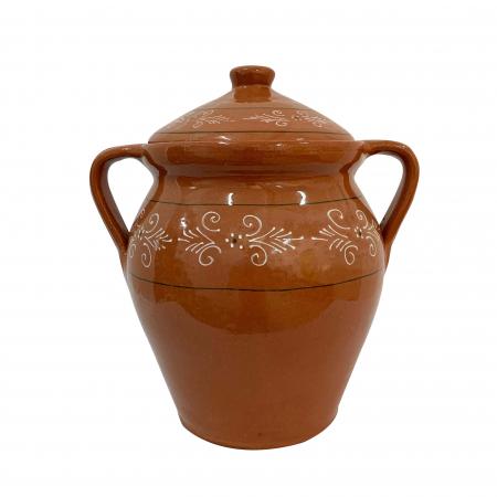 Oala din ceramica de Arges realizata manual, Argcoms, Lapte, Cu capac, Cu 2 toarte, Pictura traditionala0
